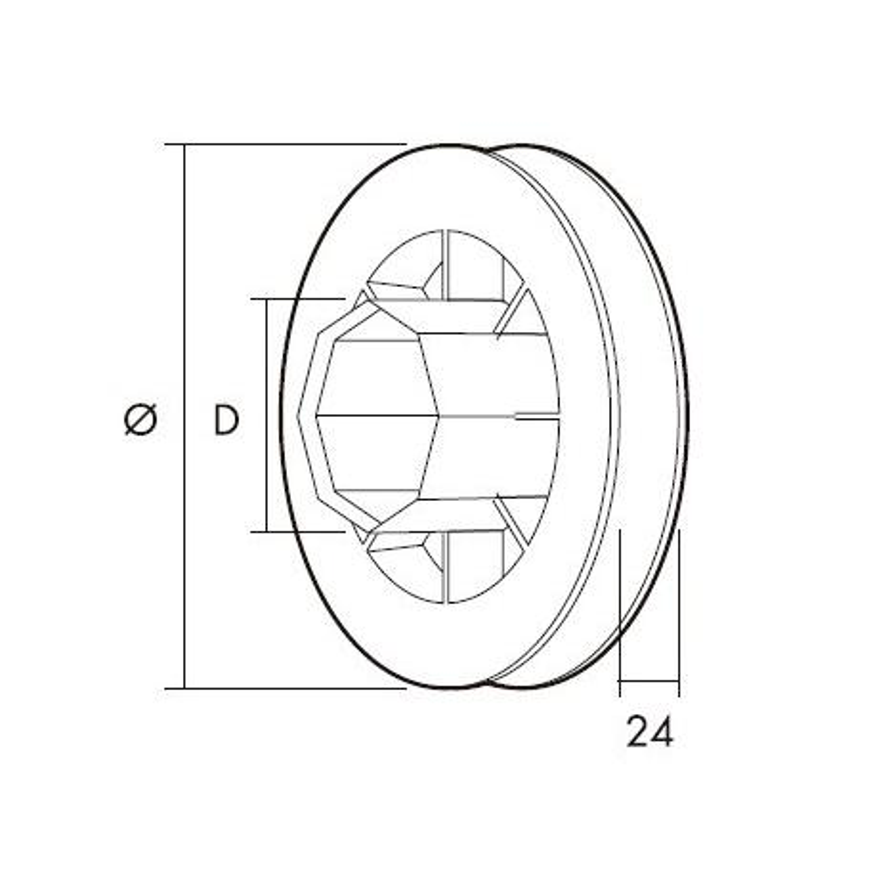 Gaviota-Simbac Polea PVC Pasante para eje de persiana